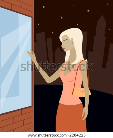 Woman in the city, window shopping at night