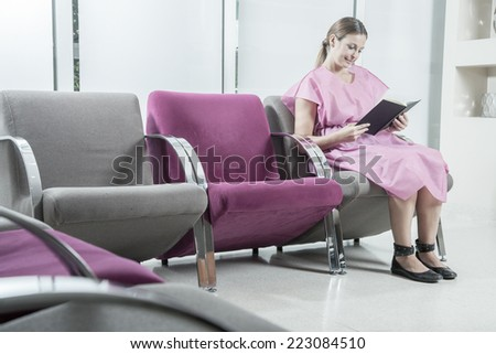 Woman in the hospital waiting room waiting to be examined.