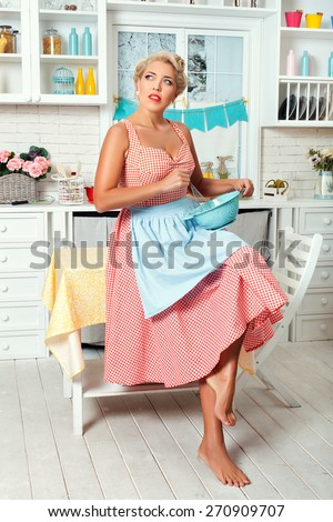Woman in the kitchen is going to cook food. She wondered. Retro style.