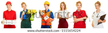 Woman in various jobs as a part time job or mini job