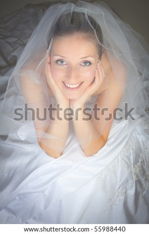 Woman in veil and wedding dress