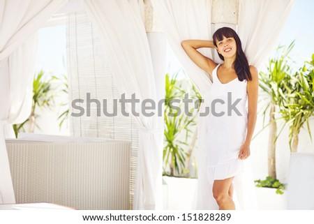 woman in villa interior