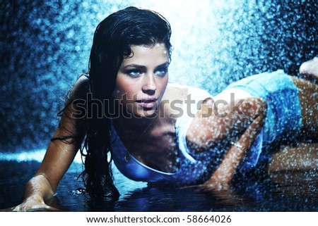 woman in water studio