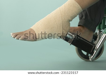 Woman in Wheelchair with Bandaged Ankle