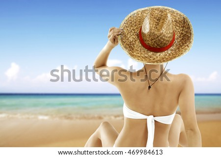 woman in white bikini and blue sea  #469984613