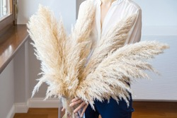 Woman in White Blouse Holding Pampas Grass. Lifestyle.Reed Plume Stem, Dried Pampas Grass, Decorative Feather Plant Arrangement for Home, Trendy Home Decor.