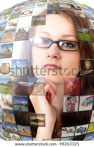 Woman inside virtual multimedia presentation