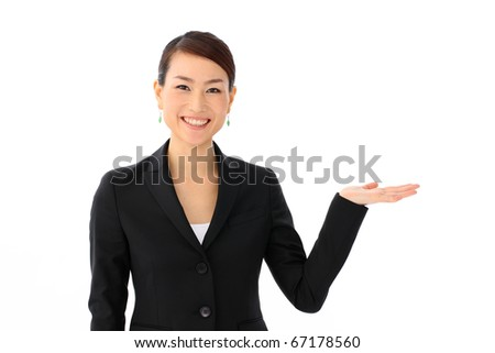 Woman introducing something