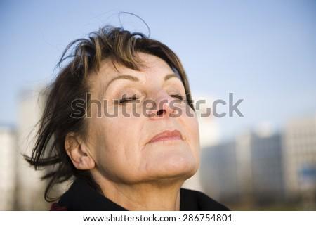 woman is deep breath