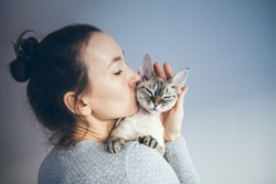 Woman is kissing and cuddling her sweet and cute looking Devon Rex cat. Kitten feels happy to be with its owner.  Kitty sits in humans arms purrs.