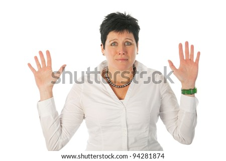 Woman is saying really don't know - stock photo