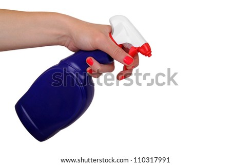 woman is spraying on white
