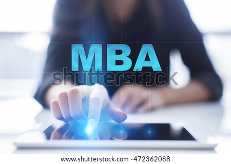 """Woman is using tablet pc, pressing on virtual screen and select """"MBA"""". #472362088"""