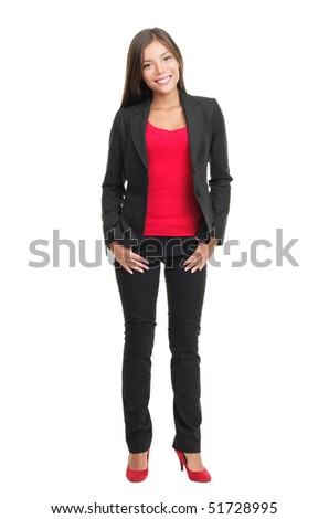 Woman isolated in full body on white background. Beautiful multiracial chinese / caucasian young woman model.