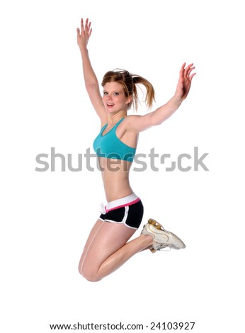Woman jumping isolated over a white background