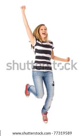 Woman jumping with joy
