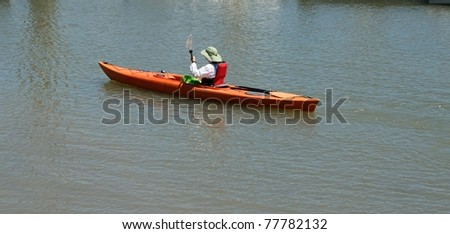 woman kayaker st augustine florida usa