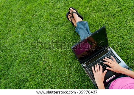 Woman laptop sit grass