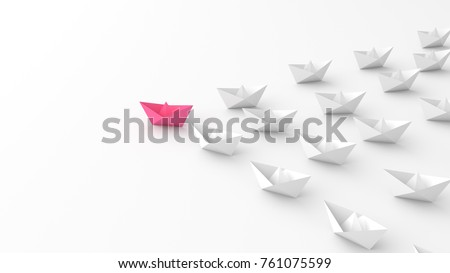 Woman leadership concept, pink leader boat with whites, on white background. 3D Rendering.