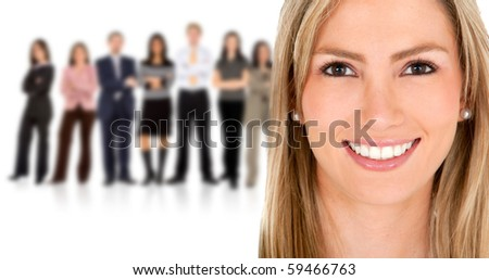 Woman leading a business team - isolated over a white background
