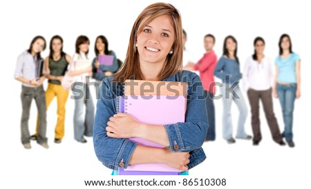 Woman leading a group of college students - isolated over a white background