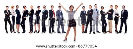 woman leading a winning business team over white