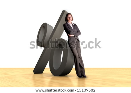 Woman leaning at a percent symbol one wood floor
