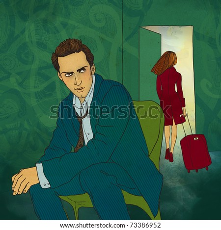 Woman leaves her man. Illustration.
