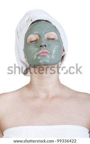 woman left a cosmetic clay mask on face
