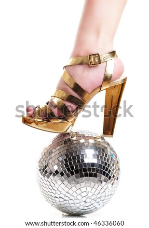 woman leg on discoball