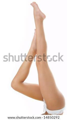 woman legs on white background - stock photo