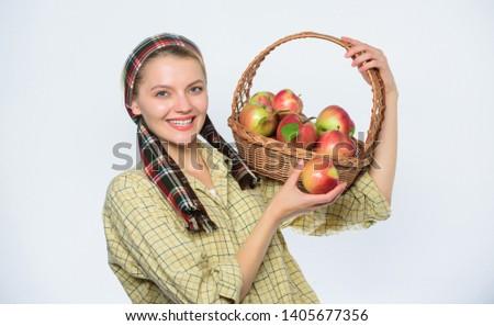 Woman likes natural fruits. Farmer gardener apple harvest. Girl gardener rustic style hold apple white background. Health care and vitamin nutrition. Grocery store. Perfect apple. Start apple diet. #1405677356