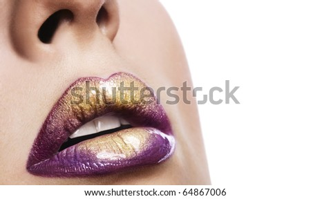 Woman lips closeup. Space for text.