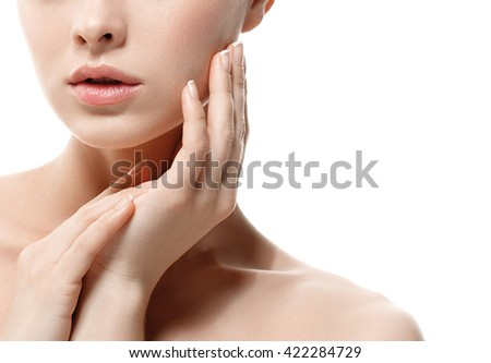 Woman lips nose nature skin hand in chin  #422284729