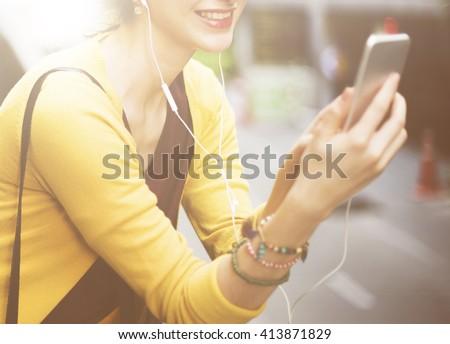 Woman Listening Music Media Entertainment Traveling Concept