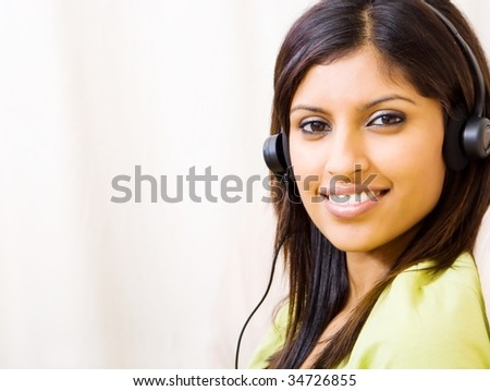 woman listening music with headset