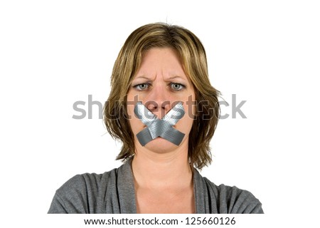 Woman looking angry with her mouth taped