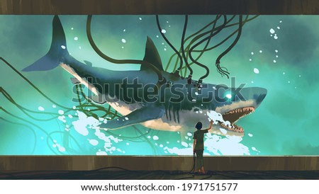 woman looking at the experimental shark in a big fish tank, digital art style, illustration painting Сток-фото ©