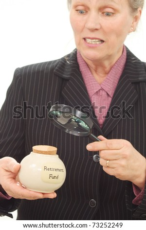 Woman looking at the retirement funds