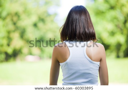 Woman looking away, summer fores - stock photo