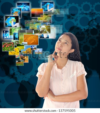 woman looking  button streaming multimedia from internet