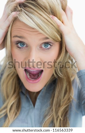 Woman looking frustrated and screaming