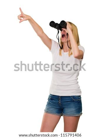 Woman Looking Through Binoculars On White Background