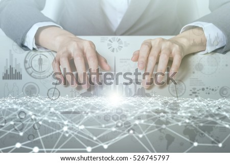 woman looks transparent monitor panel that indicates technological graphics IoT(Internet of Things), ICT(Information Communication Technology), digital transformation, abstract image visual #526745797