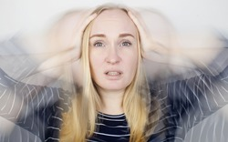 Woman loses consciousness and falls down due to dizziness and disturbance of the vestibular apparatus. Severe headache and migraine. Concept of helping people suffering from migraines and dizziness