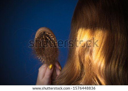 Woman loss hair , concept of baldness problems