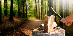 Woman lumberjack holding in hands ax chopping wood, chips fly in blur forest background. Wooden chopping for winter cold time.