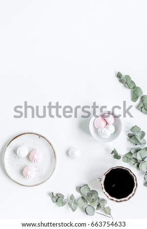 Shutterstock woman lunch with marsh-mallow, coffee and flowers soft light on white table background flat lay mock up