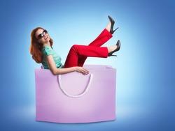 Woman lying in the bag