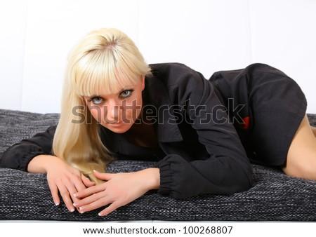 woman lying on the sofa